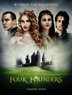 "asheathes:  "" Jonathan Rhys Meyers as Salazar Slytherin  Imogen Poots as Helga Hufflepuff  Katie McGrath as Rowena Ravenclaw  Henry Cavill as Godric Gryffindor  Bigger version [x]  """