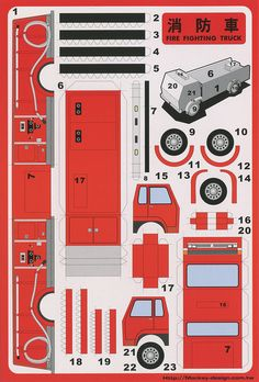 Fire Fighting Truck - Cut Out Postcard | Flickr: Intercambio de fotos