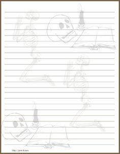 scary skeleton halloween decoration regular lined kids writing paper free printable halloween stationery