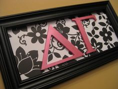 Framed Sorority Greek Letters ... @Lena Walsh, for our SAI/DDD letter art in our apartment?
