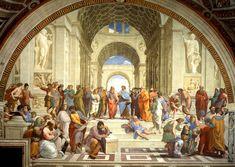 La escuela de Atenas fue pintada por Rafael en 1509 como encargo del Papa Julio II para la decoración de la Stanza della Segnatura, convertida en su biblioteca privada.   La obra representa a la Filosofía, una de las cuatro facultades clásicas junto con a la teología, el derecho y la medicina, que decoran el resto de las paredes de la estancia.