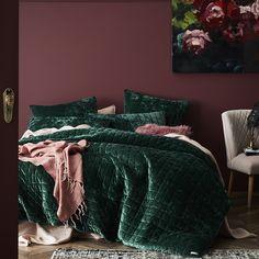Home Republic - York Quilted Quilt Cover - Bedroom - Quilt Covers & Coverlets - Home Republic - Adairs Online Pink Bedroom Walls, Bedroom Green, Dream Bedroom, Home Bedroom, Bedroom Decor, Design Bedroom, Green Bedding, Pink Walls, Velvet Bedroom