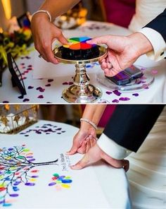Instead of a sign in sheet, put your finger prints! Could also use wedding colors.