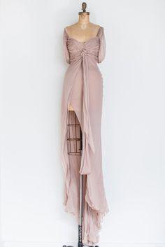RENTAL Silk Mauve Split Gown - XS/S | G O S S A M E R