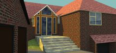 One of my first SketchUp attempts, rendered using Twighlight Render. New entrance porch for existing home.