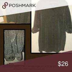 Men's Casual Dress Shirt (46/48) XXL Men's XXL (46/48) casual dress shirt, base color is Black with tan and gray/whitish strips, thought hubby wore to an evening wedding Last mintue purchase. Offers welcome, the sleeves have a material defect right on the strips, NOT noticeable right on cuff area, no time to return so rolled the sleeves, it works great! ☺😒. Again offers welcome George Shirts