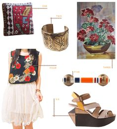 geometric, florals, brass, yellow