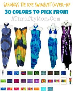 Sarong swim suit coverups, 30 colors to pick from #Summer, #Fashion, #SwimSuitCover by 1worldsarongs.com