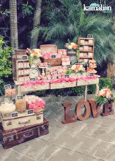 Love the use of the suitcases to stack more stuff on. Candy Bar Wedding, Wedding Desserts, Wedding Decorations, Dessert Buffet, Dessert Bars, Dessert Tables, Candy Table, Candy Buffet, Vintage Candy Bars
