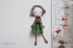 Christmas Girl Art Doll Brooch Girl mixed media by miopupazzo