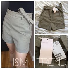 Genuine leather high waist grey geometric shorts H&M genuine leather slate grey shorts from h&m's premium line : TREND. When you see those pink tags you know you're getting the best fabrics and most coveted styles!                          UK 8 = US SIZE 4. Features a silky lining, inside button closure for perfect fit, leather tie, all around beautiful grain leather, geometric seam details, and side zip. Brand new (bought in the UK) with tags…