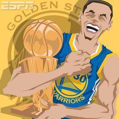 Golden State Warriors 'NBA Champions' Caricature Art