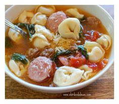The weather's getting chilly. That means I'm making soup a few times a week! I love soup weather & I love this Sausage Tortellini Soup. Everyone does!