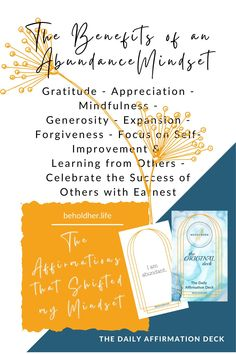 The Benefits of an Abundance Mindset Feel the abundance by recognizing and feeling gratitude for that which you do have. Built upon that. Build the empire that is You upon a foundation of gratitude, appreciation, mindfulness, generosity, expansion, forgiveness, focus on self-improvement &learning from others and celebrate the success of others with earnest #mindset #MentalHealth #SelfLOve #SelfCare Daily Affirmations, Powerful Words, Words Of Encouragement, Best Self, Self Improvement, Forgiveness, Abundance, Self Love, Gratitude