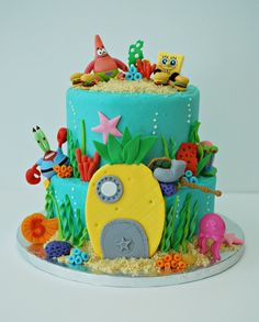 3 Year Old Birthday Cake, Birthday Party Tables, Birthday Cake Girls, Spongebob Birthday Party, Just Cakes, Cake Decorating Tips, Girl Cakes, How Sweet Eats, Creative Cakes
