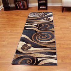 DonnieAnn Company Sculpture Abstract Swirl Design Brown/Black Area Rug