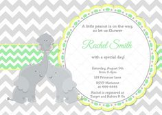 Yellow elephant baby shower invitation gender reveal baby shower yellow green and grey chevron elephant baby shower invitation and free thank you card mom dad co ed printable invite filmwisefo