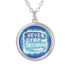Never Stop Dreaming Blue White Clouds Necklace; Abigail Davidson Art; ArtisanAbigail at Zazzle