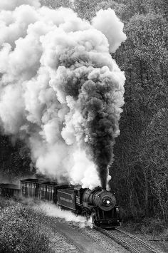 Steam Engine.....She'll be coming round the mountain  - GREAT VINTAGE PICTURE OF ONE POWERFUL TRAIN.