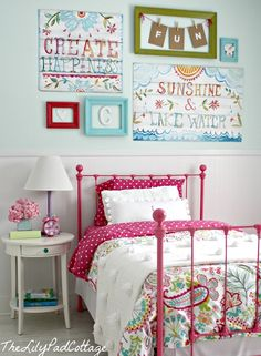 Super cute girls room! Good tip...print out the font you want and place wax paper over it. Trace letters with puffy paint, let dry, then use mod podge to secure letters to canvas, etc. Brilliant. - Casual Crafter