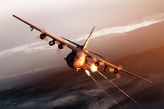 The Lockheed AC-130 gunship is a heavily armed ground-attack aircraft variant of the C-130 Hercules transport plane. The basic airframe is manufactured by Lockheed while Boeing is responsible for the conversion into a gunship and aircraft support.