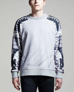 Gray Baseball Lace Detail Print Sweatshirt