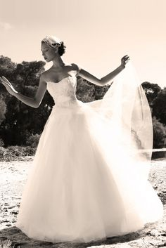 White princess line gown with a tulle skirt and a satin waist belt combined with guipure lace Princess Line, One Shoulder Wedding Dress, Tulle, Satin, Gowns, Wedding Dresses, Lace, Skirts, Collection