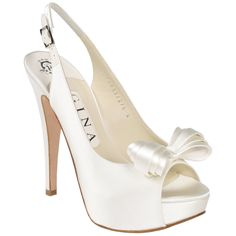 Ultra feminine luxurious cream silk satin open toe slingback on an elongated 125mm heel and discreet platform adorned with a complimenting silk satin bow.