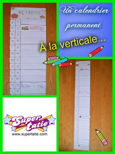 Un calendrier permanent à la verticale 3 D, Letter Of The Day, Teaching Tools, Days Of Week, Calendar, Coloring Pages
