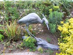 #Bronze #sculpture by #sculptor Gill Parker titled: 'Grey Heron (Bronze life size Stalking garden/yard sculptures/statues)'. #GillParker
