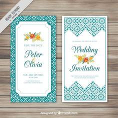 Cartão de casamento com flores e ornamentos Vetor grátis