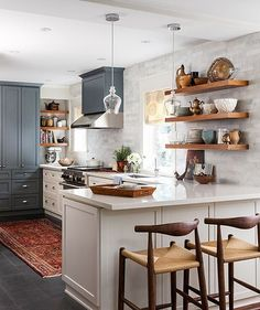 Happy Wednesday! I love the mood of this kitchen from @houseandhomemag. I can hardly believe it but next month a contractor will begin demo on our little galley kitchen! We spent *forever* weighing all of our choices (no surprise there ) but I\'m so excited to know that we will finally have ✨ a new kitchen ✨before the holidays! I\'m sharing the \