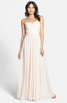 JS Boutique Strapless Ruched Chiffon Gown available at #Nordstrom. They have a Fuchsia color that could work.