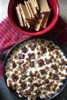 Simple Smores Dip #chocolateobsession #weekendsplurge #delicious  Can we somehow add cream cheese to this?!