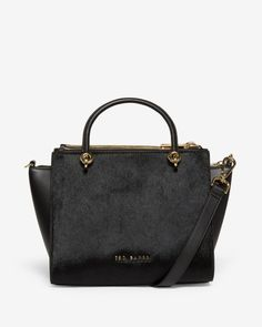 Textured leather zip tote bag - Black | Bags | Ted Baker