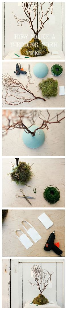 Step By Step : Wedding Wish Tree. Would be cute as a centerpiece
