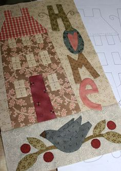 Fabric Patch Bluebird Lane BOM Complete Pattern Set - by The BirdhouseSECONDARY_SECTIONBluebird Lane BOM Complete set of patterns only. Pattern by Natalie Bird for The Birdhouse. Quilt Studio, Penny Rugs, Small Quilts, Mini Quilts, Vogel Quilt, Anni Downs, House Quilt Patterns, Bird Quilt, Applique Quilts