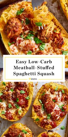 superior Recipe: Straightforward Low-Carb Meatball-Stuffed Spaghetti Squash — Recipes from The Kitchn Supply : Recipe: Easy Low-Carb Meatball-Stuffed Spaghetti Squash by Board : Dinner… Low Carb Recipes, Cooking Recipes, Healthy Recipes, Fast Recipes, Shake Recipes, Yummy Recipes, Clean Eating Snacks, Healthy Eating, Courge Spaghetti