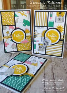 Little Paper Party, Pieces & Patterns, Pick a Pattern DSP, FREE Kit July 2017, #1