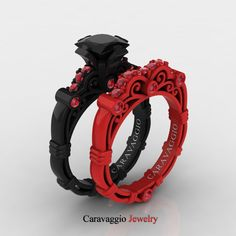 London Exclusive Caravaggio 14K Black and Red Gold 1.25 Ct Princess Black…