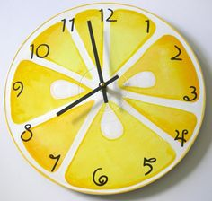 I need this!! Hand-Painted Lemon Slice Wall Clock made from Recycled Record Album-clock, wall clock, lemon clock, lemon wall clock