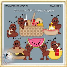 Summer Picnic Ants Clipart by MagicmakerScraps on Etsy