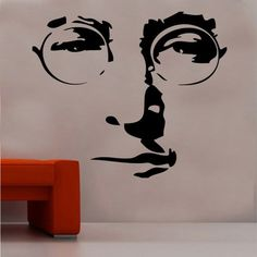 Wandtattoo John Lennon East Urban Home Farbe: Brillantblau, Größe: XL Dinosaur Wall Stickers, Letter Wall Stickers, Childrens Wall Stickers, 3d Butterfly Wall Stickers, Wall Decals, Vinyl Decals, Imagine John Lennon, Yoko Ono, Beatles Songs