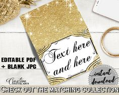 Glittering Gold Bridal Shower Food Tent in Gold And Yellow, food tent labels, yellow theme, party organization, party plan, prints - JTD7P #bridalshower #bride-to-be #bridetobe