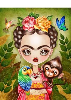"""""""Frida Querida"""" Graphic/Illustration by Sandra Vargas posters, art prints, canvas prints, greeting cards or gallery prints. Find more Graphic/Illustration art prints and posters in the ARTFLAKES shop. Art And Illustration, Icon Illustrations, People Illustration, Art Pop, Frida Kahlo Cartoon, Kahlo Paintings, Frida Art, Wow Art, Modern Cross Stitch"""