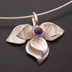 Sterling Lotus Pendant with Iolite Center