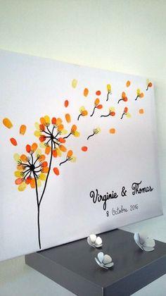 Ce sont vos invités qui vont créer ce tableau en ajoutant des empreintes colorées . Le résultat : une toile entièrement personnalisée en souvenir de l'un des plus beau j - 18846807