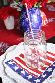A Fourth of July table setting.