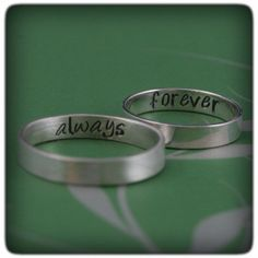 A secret message just for you! Forever and Always--the way true love should be. Hand forged from 4mm by 1mm solid Sterling Silver rectangular wire, your rings will be custom made to size. One will be stamped forever and one will be stamped always inside. These rings can also be stamped with a custom secret message, just let me know what you would like to substitute. They will come in a brushed finish unless specified. They can be either brushed or high polished.    Please dont hesitate to…