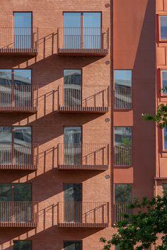 Building Exterior, Brick Building, Aarhus, Architectural Features, Architectural Elements, Facade Architecture, Residential Architecture, Dormer Windows, Urban Fabric